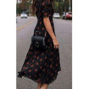 Zara black floral print sheer ruffle crossover dre